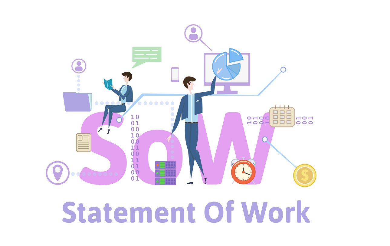 SoW,-statement-of-work.-Concept-table-with-keywords,-letters-and-icons.-Colored-flat-vector-illustration-on-white-background.-1030205536_1292x816